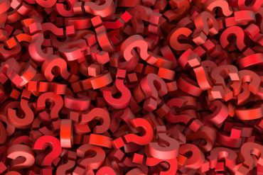 A pile of three-dimensional question marks