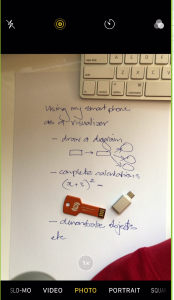 Piece of paper captured using a makeshift visualiser with ideas for using a smartphone as a visualsier - drawing a diagram, complex calculations, demonstrating objects, etc.