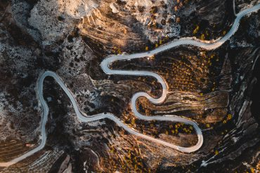 Aerial shot of winding road