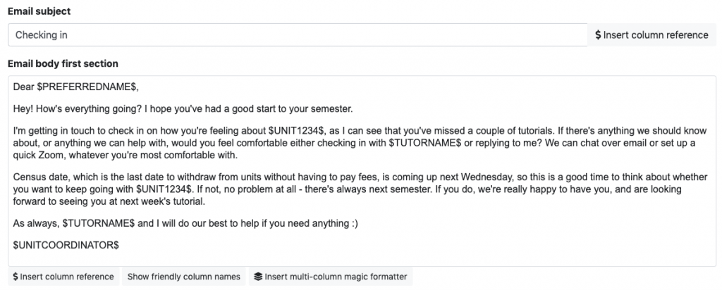 A targeted email sent to students who haven't attended tutorials using SRES.