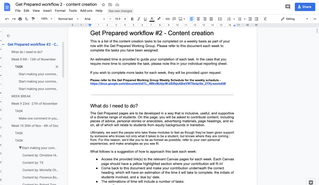 Google Doc 'scaffold' used for Get Prepared Content Creation