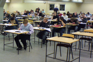 Students seated in exam room