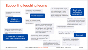 Screenshot of a slide with pasted snippets from Zoom chat