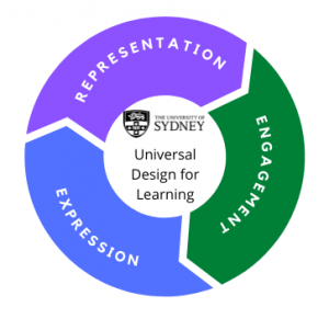 This image shows 3 segments of a circle representing the 3 parts of UDL, representation, engagement and expression